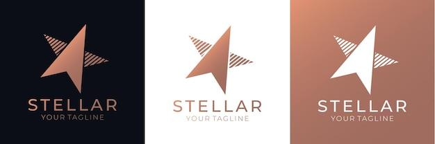 Vetor do logotipo da estrela. logotipo abstrato universal com um símbolo de estrela para qualquer empresa. signo - um líder, sucesso e poder.
