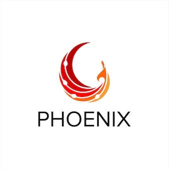 Vetor do logotipo da fênix simples moderno pássaro voador