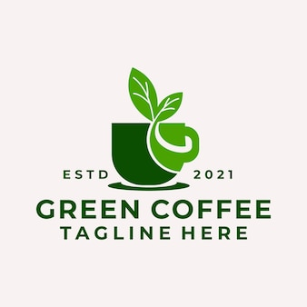 Vetor do logotipo da folha de café natural moderno
