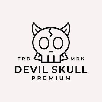 Vetor do logotipo do crânio do diabo da arte de linha moderna