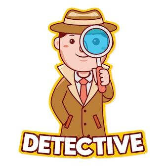 Vetor do logotipo do mascote da profissão de detetive em estilo desenho animado
