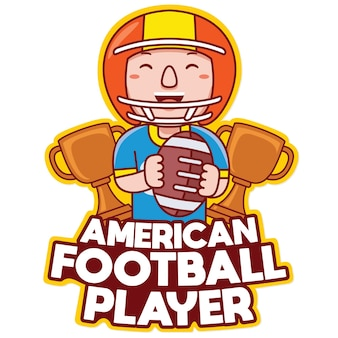 Vetor do logotipo do mascote da profissão do jogador de futebol americano em estilo cartoon