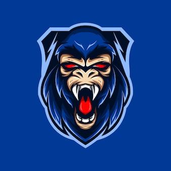 Vetor do logotipo do mascote do clube esportivo premium da cabeça king kong