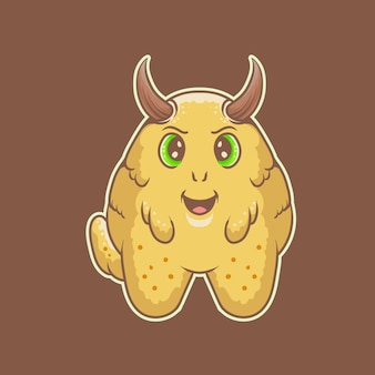 Vetor do logotipo do monstro feliz dos desenhos animados