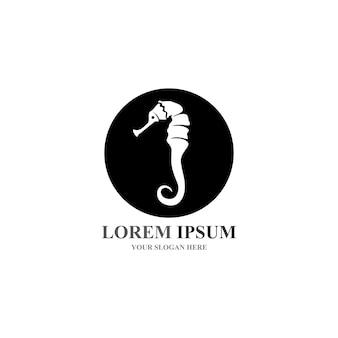 Vetor do logotipo do seahorse e do ícone do símbolo