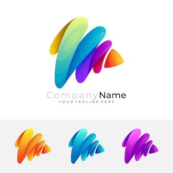Vetor do logotipo m, logotipo da letra m com design colorido