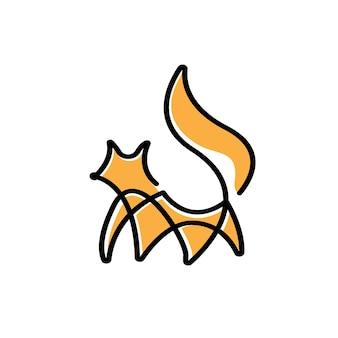 Vetor do logotipo monoline da linha fox