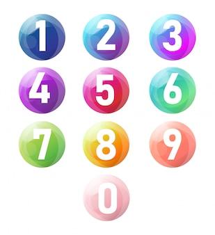 Vetor do número de zero a nove com bolas 3d realistas.