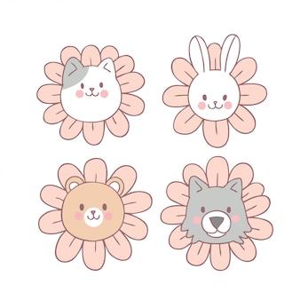 Vetor doce bonito do animal e da flor dos desenhos animados.