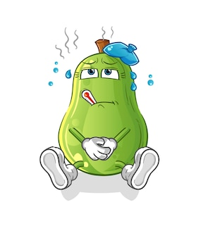 Vetor doente de abacate. personagem de desenho animado