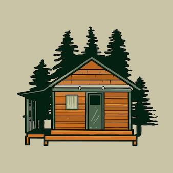 Vetor dos desenhos animados da casa da cabana rústica de madeira.