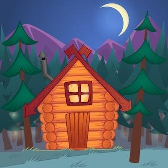 Vetor dos desenhos animados de madeira cabana na floresta da noite