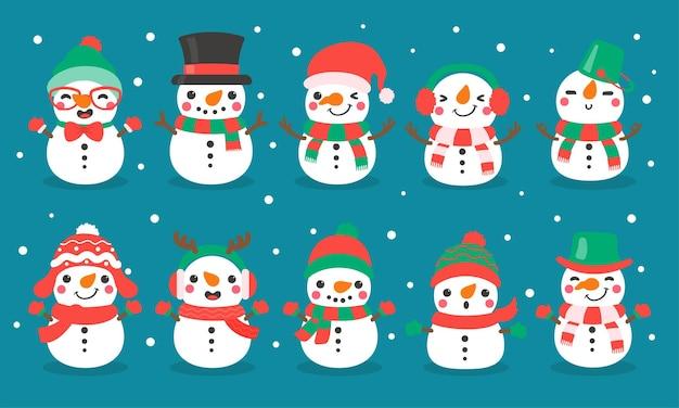 Vetor dos desenhos animados do boneco de neve. bolas de neve moldadas em boneco de neve. decore com suéteres de inverno para o natal.
