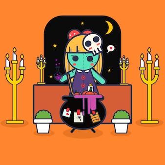 Vetor dos desenhos animados do dia de halloween.