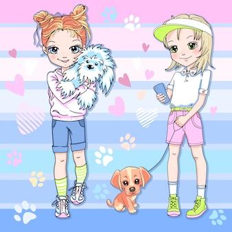Vetor duas lindas garotas loiras e ruivas com cachorrinhos