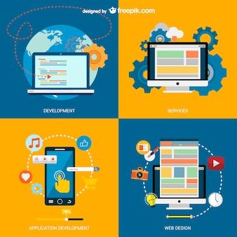 Vetor e-business com dispositivos eletrônicos