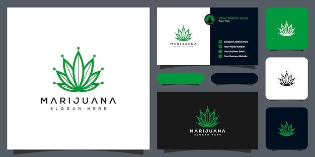 Vetor e cartão de visita do logotipo da folha de maconha de cannabis
