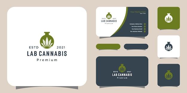 Vetor e cartão de visita do logotipo da folha de maconha de laboratório e cannabis