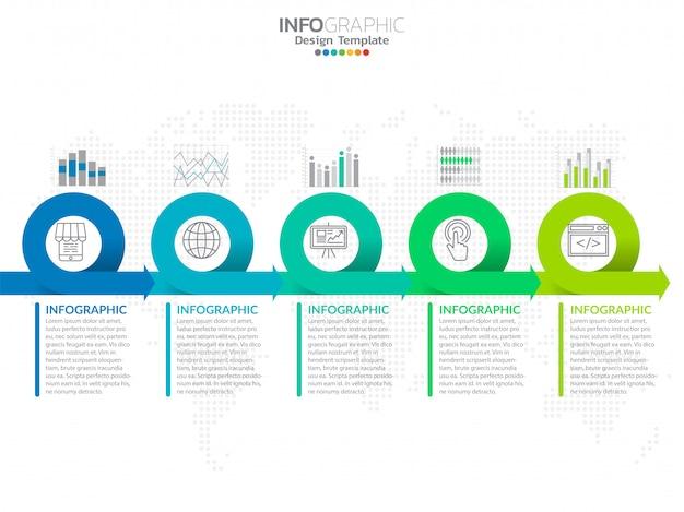 Vetor e ícones do projeto infographic do espaço temporal dos passos.