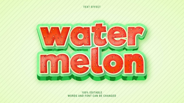 Vetor editável de efeito de texto de fruta de melancia