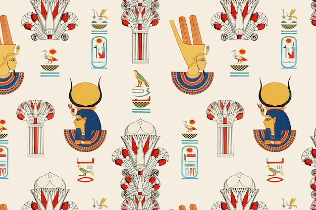 Vetor egípcio ornamental padrão de fundo sem emenda