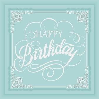 Vetor elegante cartão de convite de feliz aniversário com e quadro com elementos de flores e bela tipografia.