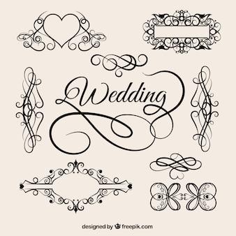 Vetor elementos de casamento do vintage
