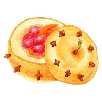 Vetor em aquarela de sobremesas de natal isoladas em branco esboço desenhado a mão de maçã assada