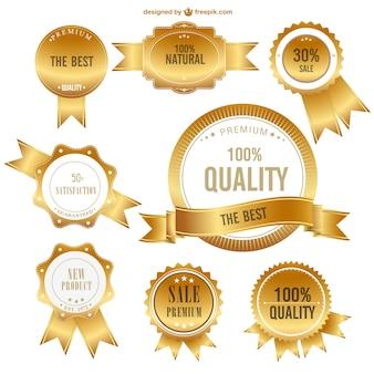 Vetor emblemas de primeira qualidade de ouro