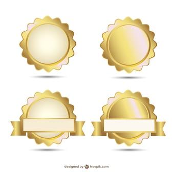 Vetor emblemas projeto selo ouro