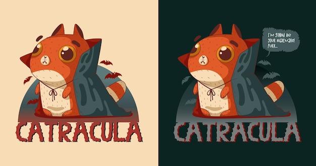 Vetor engraçado do gato vampiro gato ruivo bonito com fantasia de halloween do conde drácula adesivo digno
