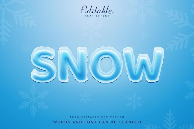 Vetor eps editável de efeito de texto de neve realístico
