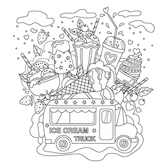 Vetor esboçado doodle antiestresse livro para colorir página caminhão de sorvete para adultos e crianças