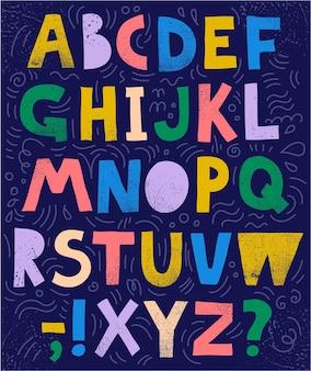 Vetor esboçado, fonte de colagem, abc. letras e sinais texturizados coloridos, desenhados à mão