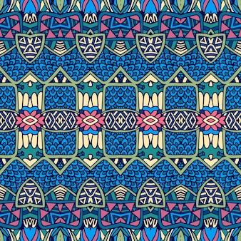 Vetor étnico abstrato sem costura vintage padrão fundo ornamental.