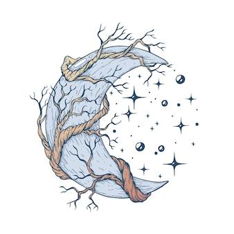 Vetor feito à mão com caneta e tinta a lua com os galhos de uma árvore