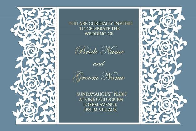 Vetor floral do molde do cartão do convite do casamento do corte do laser da dobra da porta do laço. projeto para corte a laser ou modelo de corte e vinco. maquete de convite de casamento ornamental.