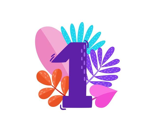 Vetor floral número um com folhas decorativas de néon isoladas no branco desenho animado número 1