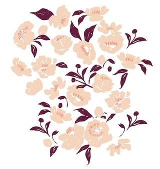 Vetor flores desenhadas à mão ilustração recurso gráfico textura natural esboço cor desenho