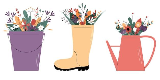 Vetor fofo definido com elementos de design de jardim ilustração em vetor colorido