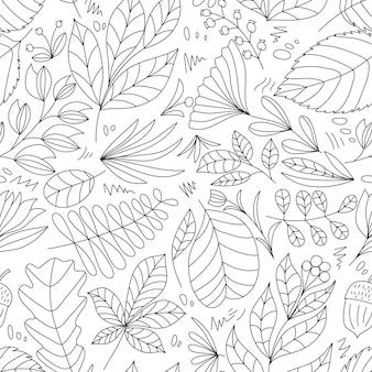 Vetor fofo verão mão desenhada folha padrão sem emenda