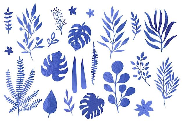 Vetor folhas azuis com estilo aquarela