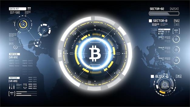 Vetor futurista de crio-moeda bitcoin hud infográficos tecnologia de dinheiro digital em todo o mundo