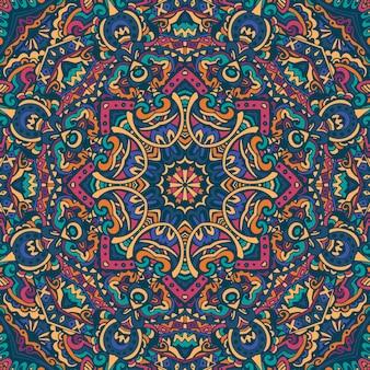 Vetor geométrico abstrato com azulejos boho padrão étnico sem costura ornamental