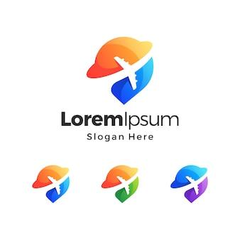 Vetor gradiente do logotipo premium do pino de viagem do planeta