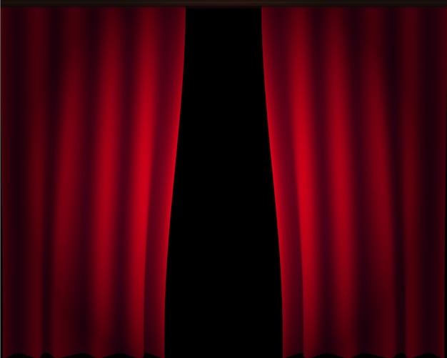 Vetor grande do grupo da fase da cortina. cortinas de seda vermelha