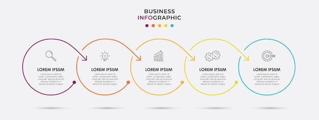 Vetor infográfico modelo de negócios de design de círculo de linha fina com ícones e 5 opções ou etapas