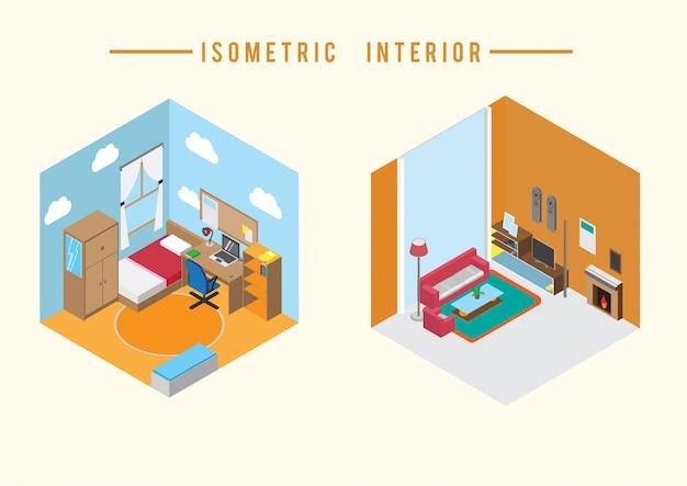 Vetor interior isométrico