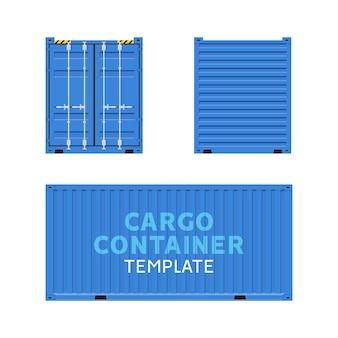 Vetor isolado da caixa do contêiner de carga. modelo de negócios de entrega de lados da carga.