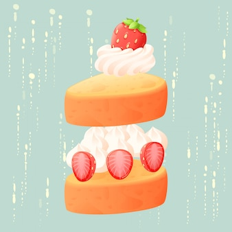 Vetor isolado de bolo de morango abstrato